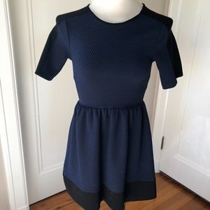 Love Ady Fit n Flare Blue black checkered Dress